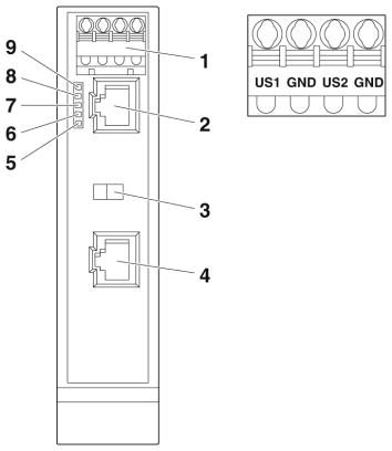 INJ 1000 PoE Injector Front Schematic