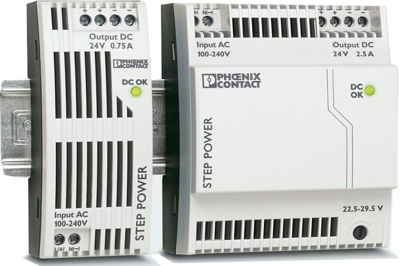 Primary-switched STEP POWER power supply for DIN rail mounting output: 24 V DC//1.75 A STEP-PS// 1AC//24DC//1.75 input: 1-phase